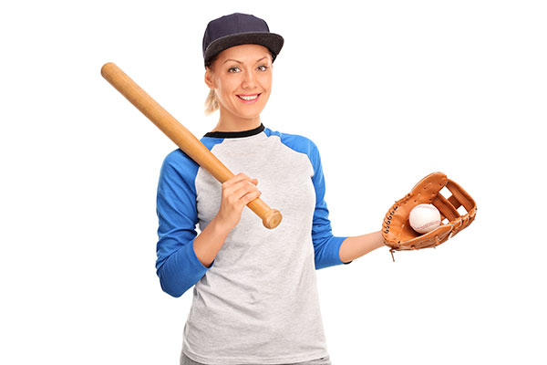 Woman with baseball bat