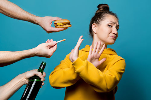 Woman Saying No to Bad Habits